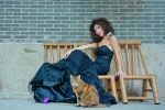 Angie Palmer, fashion model with a cat in temple